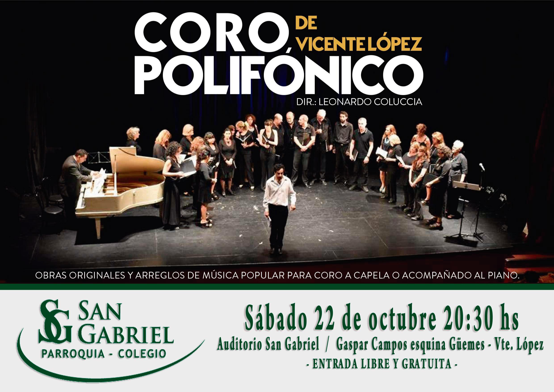 Coro Polifónico de Vicente López, sábado 22 de octubre, 20,30hs